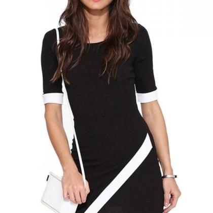Free Shipping Black Round Neck Short Sleeve Sexy Bodycon Dress