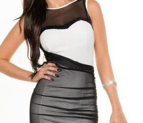 Free Shipping Black White Mesh Accent Sexy Bodycon Dress