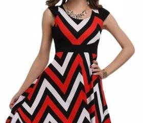 Watermelon Red Wave Pattern Chic Womens Skater Dress A