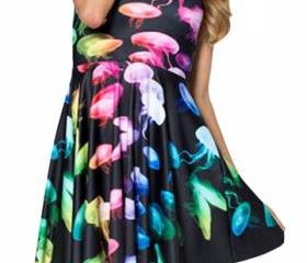 Black Gradient Jellyfish Printed Sexy Fashion Ladies Skater Dress A