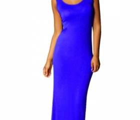 Sapphire Blue Plain Sleeveless Elegant Womens Maxi Dress A