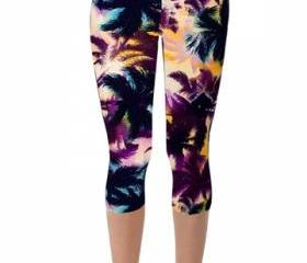 My Wish Light Purple Coconut Tree Printed Slimming Womens Sport Leggings