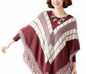 Ladies Fringe Batwing Sleeve Argyle Pullover Sweater Ruby (AN)