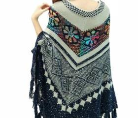 Ladies Geometric Patterned Tassel Pullover Sweater Navy Blue (AN)