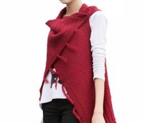 Ladies Sleeveless Fringe Slimming Plain Cardigan Sweater Ruby (AN)