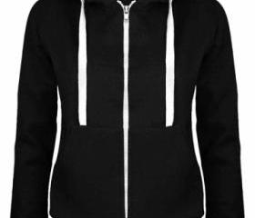 Womens Simple Slim Plain Long Sleeve Zipper Hoodie Black