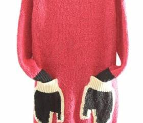 Womens Crewneck Long Sleeve Gloves Pocket Pullover Sweater Rose Red ss